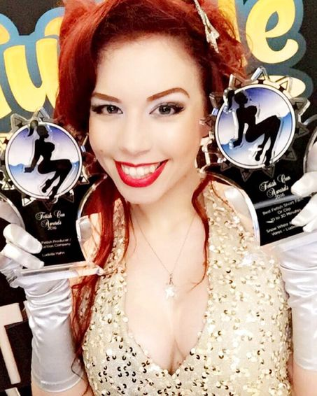 Multi Award Winning Fetish Actress and Filmmaker Ludella Hahn at 2016 Fetish Awards with Her Award Wins